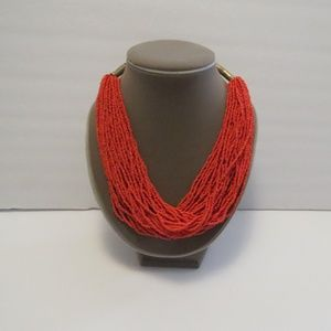 Forever 21 Orange Seed Bead Statement Necklace